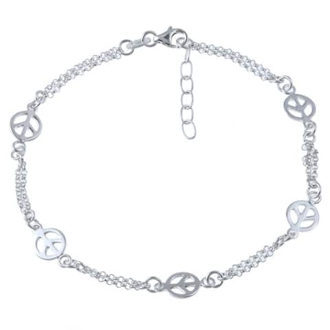 Roberto Martinez Sterling Silver 10-inch Peace Anklet
