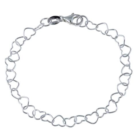 Roberto Martinez Sterling Silver 10-inch Heart Link Anklet
