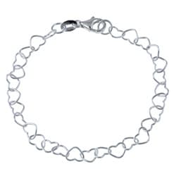 Sterling Essentials Sterling Silver 10-inch Heart Link Anklet