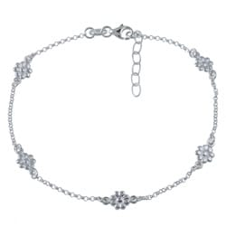 Sterling Essentials Sterling Silver 10-inch Flower Anklet