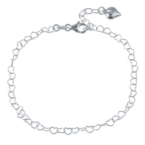 Roberto Martinez Sterling Silver 10-inch Heart Anklet
