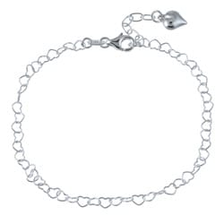 Sterling Essentials Sterling Silver 10-inch Heart Anklet