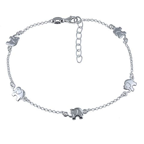 Sterling Essentials Sterling Silver 10-inch Lucky Elephants Anklet