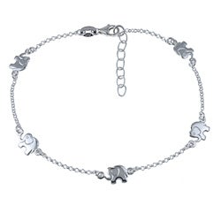 Sterling Silver 10-inch Lucky Elephants Anklet