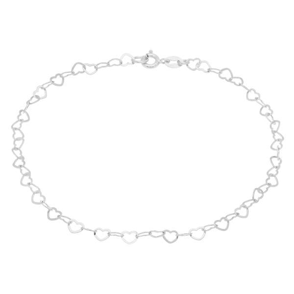 Sterling Essentials Sterling Silver 10-Inch Flat Heart Links Anklet