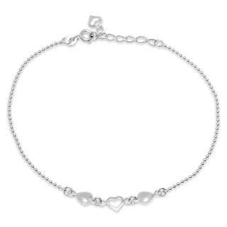 Sterling Silver 9-inch Hearts Ankle Bracelet