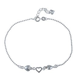 Sterling Essentials Sterling Silver 9-inch Hearts Ankle Bracelet