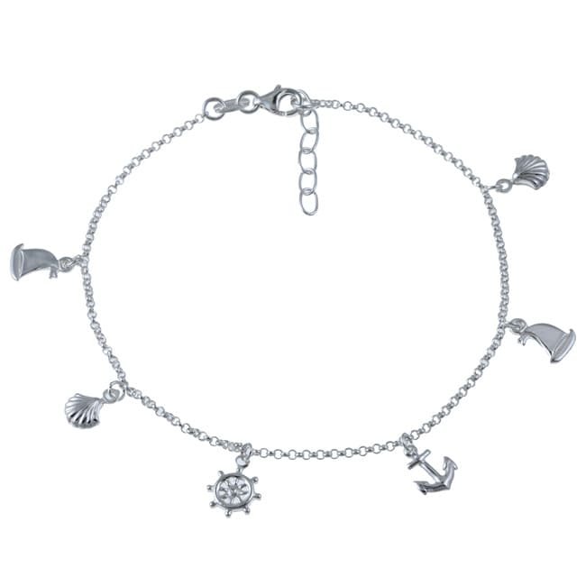 Sterling Silver 10 Inch Nautical Anklet Free Shipping On