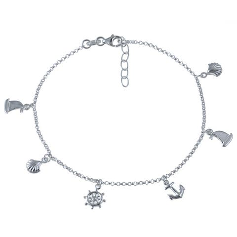 Roberto Martinez Sterling Silver Nautical Anklet (10 Inch)