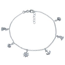 Sterling Essentials Sterling Silver 10-inch Nautical Anklet