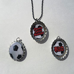 Soccer Bottle Cap Necklace Set