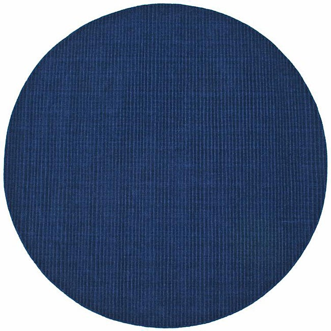 Hand Tufted Blue Stripe Wool Rug 6 Round Free
