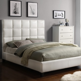 MID-CENTURY LIVING Fenton White Bonded Leather Panel King-sized Upholstered Bed