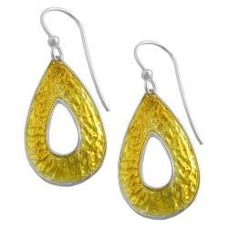 Fremada 14k Gold over Silver Hammered Teardrop Dangle Earrings