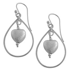 Fremada Silver Heart and Teardrop Dangle Earrings