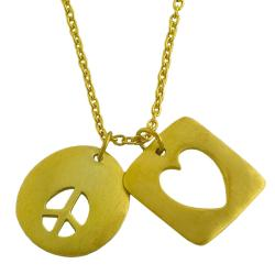 Fremada 14k Gold over Silver Satin Heart and Peace Adjustable Necklace