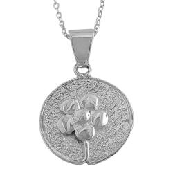 Fremada Sterling Silver Flower Disc Necklace