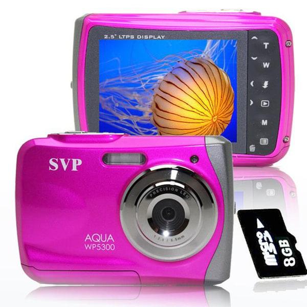 shop svp wp5300 waterproof pink 12 mp digital video camera with 8gb rh overstock com