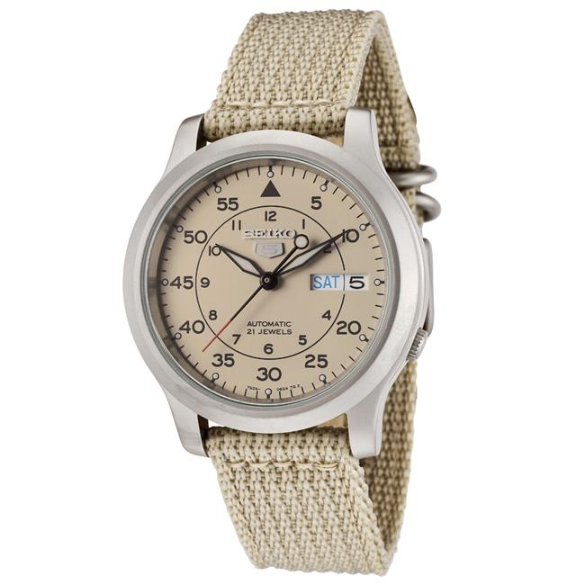 Seiko Men's SNK803K2 Seiko 5 Beige Fabric Automatic Watch