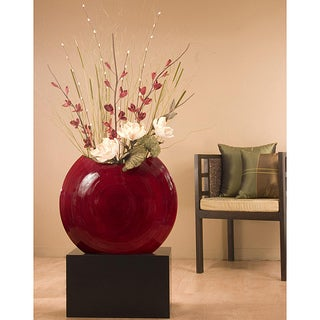 Bamboo 24-inch Red Circular Vase with Floral (Black Stand Not Included)