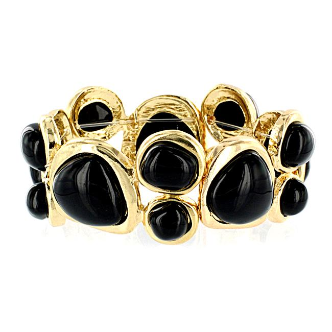 Goldtone and Black Multi-stone Stretch Bangle-style Bracelet