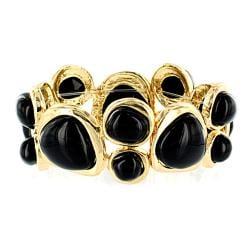 Goldtone and Black Multi-stone Stretch Bangle-style Bracelet