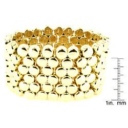 Goldtone Multi-disk Stretch Cuff Bracelet - Thumbnail 2