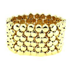 Goldtone Multi-disk Stretch Cuff Bracelet - Thumbnail 0