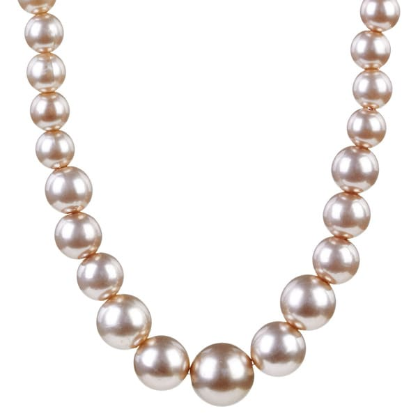 Silvertone Graduated Faux Pearl Bead Necklace