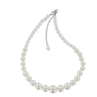 West Coast Jewelry Silvertone White Faux Pearl Graduated 16-inch Strand
