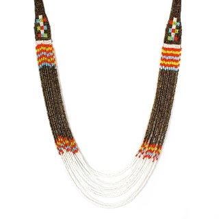 Orange, White, Blue and Green Bead Multi Strand Necklace