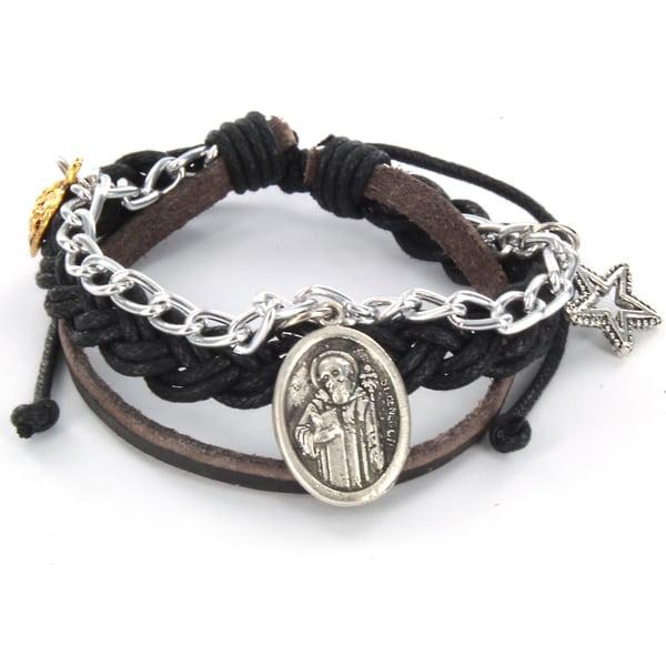 Braided Leather St. Benedict Charm Bracelet