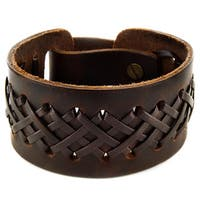 Brown Laced Leather Strap Bracelet