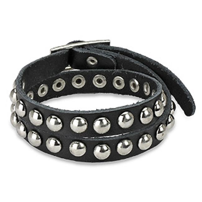 Punk Studded Double Wrap Black Leather Strap Bracelet