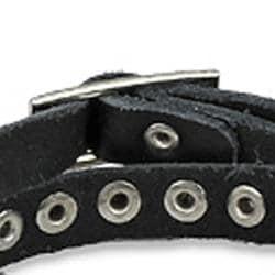 Punk Studded Double-wrap Black Leather Strap Bracelet - Thumbnail 1