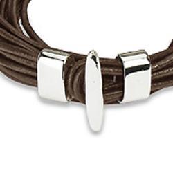 Brown Leather Multi-cord Bracelet - Thumbnail 1