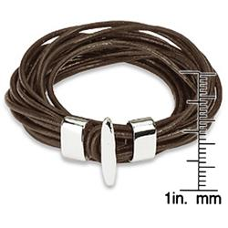 Brown Leather Multi-cord Bracelet - Thumbnail 2