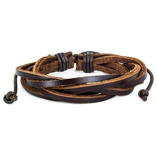 Brown Twisted Leather Bracelet