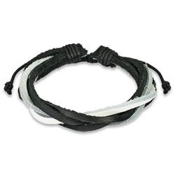 Black and White Twisted Leather Bracelet