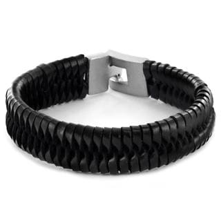 Black Leather Woven and Braided Strap Bracelet