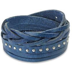 Blue Multi-strip Braided and Studded Strap Bracelet