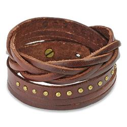 Brown Multi-strip Braided/ Studded Strap Bracelet - Thumbnail 0