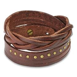 Brown Multi-strip Braided/ Studded Strap Bracelet