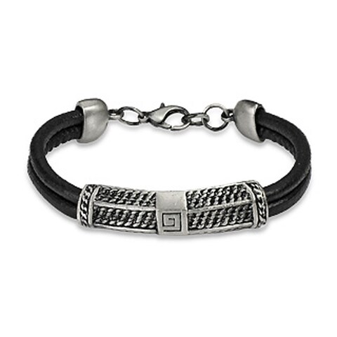 Antiqued Stainless Steel Bar Double Strand Leather Bracelet - Black