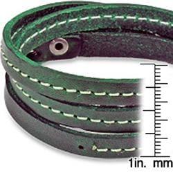 Distressed Green Triple Wrap Leather Bracelet