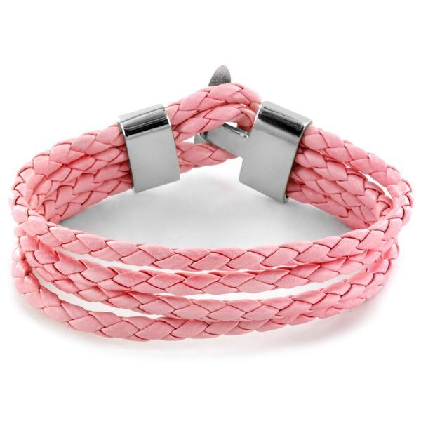 Pink Braided Leather Multi-cord Bracelet