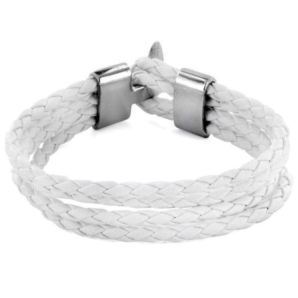 White Braided Leather Multi-cord Bracelet