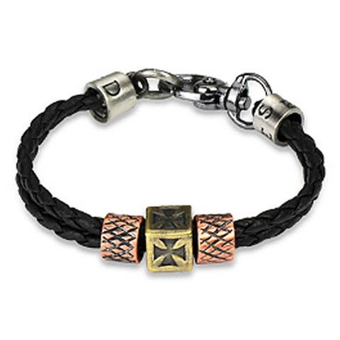 Braided Leather Celtic Cross Charm Bracelet