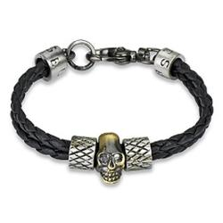 Braided Leather Skull Charm Bracelet