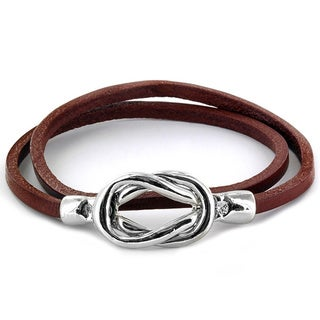 Steel Knot Double Wrap Leather Bracelet